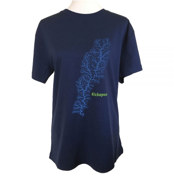 T-shirt with image of Kickapoo watershed on the front