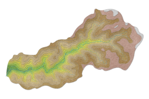 Artistic map of Coon Creek watershed