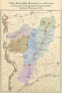 VSN Priority Watersheds - antiqued map