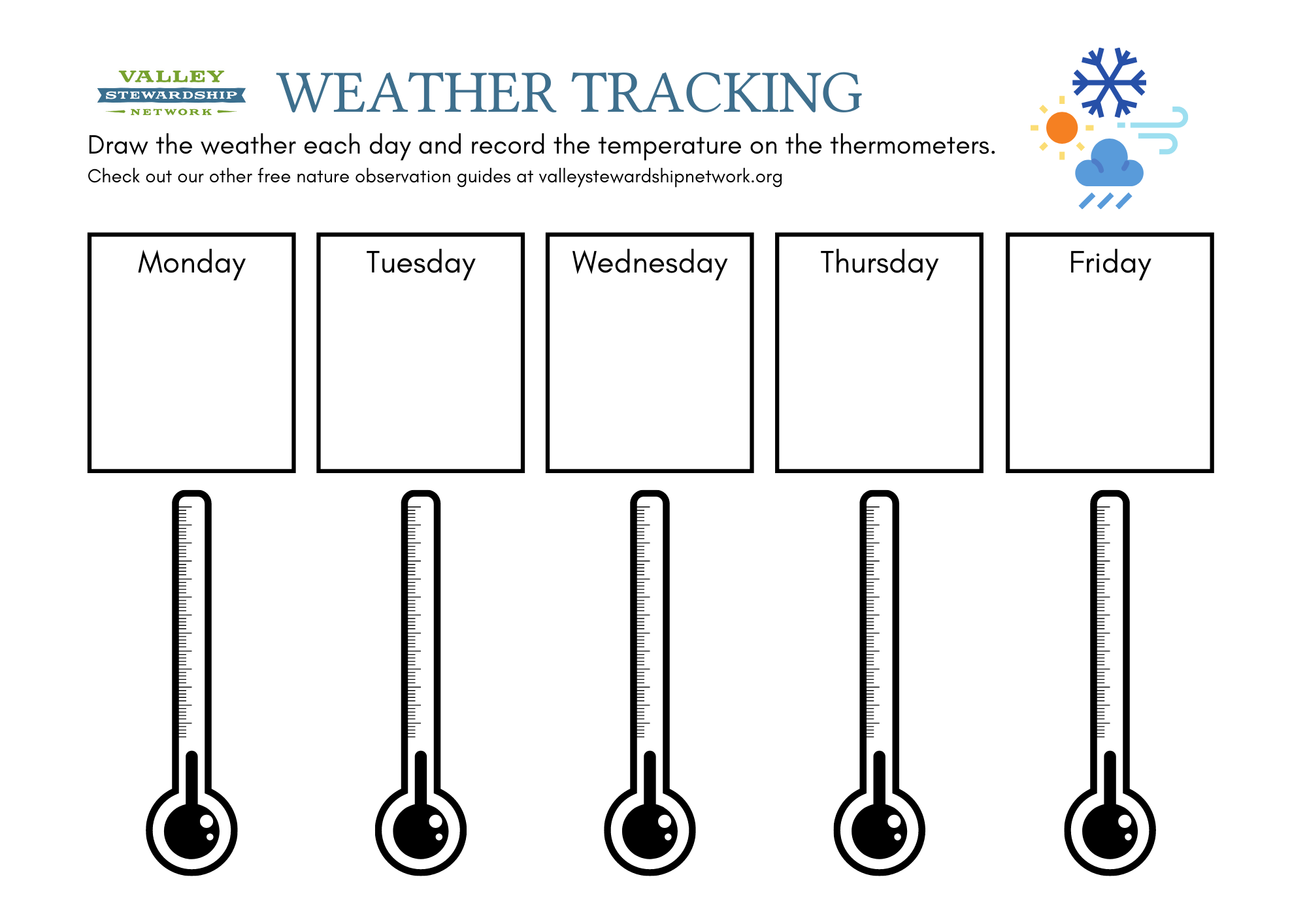 Printable Weather Tracker sheet